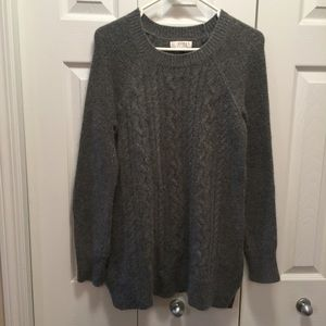 Kenar Grey Scoop Neck Angora Cable Knit Sweater